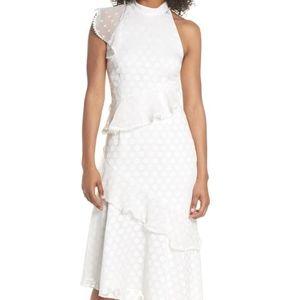 Keepsake ivory ruffle midi asymmetrical dress